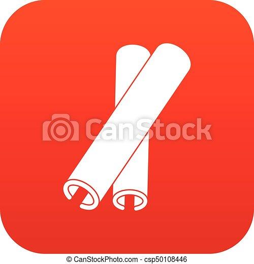 varas, ícone, canela, vermelho, digital - csp50108446