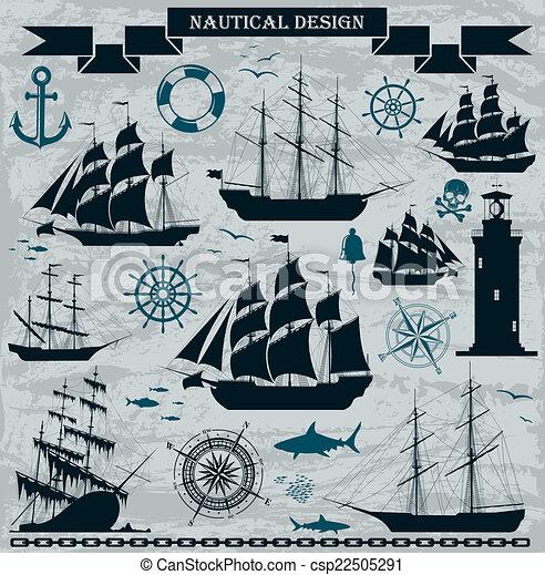 varende schepen, set, elements., ontwerp, nautisch - csp22505291