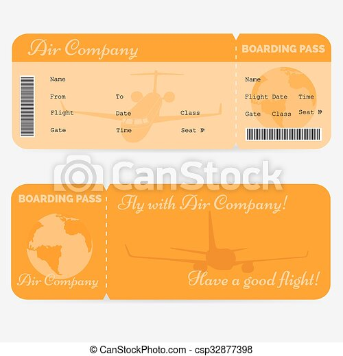Variant Of Airline Boarding Pass Orange Ticket Isolated On White