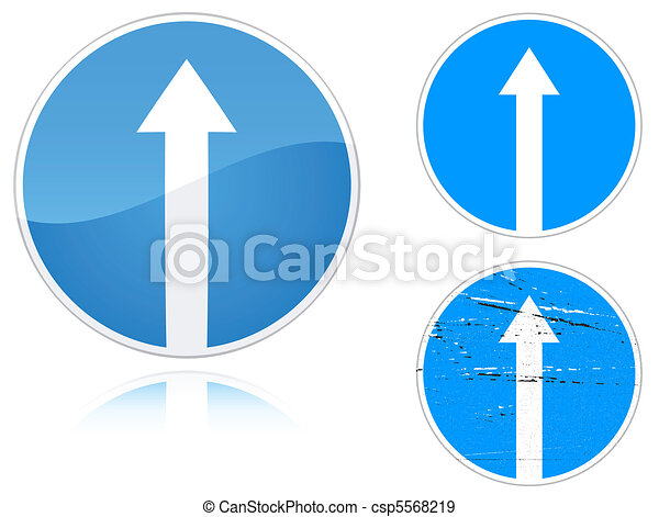 Variants a Straight ahead road sign - csp5568219