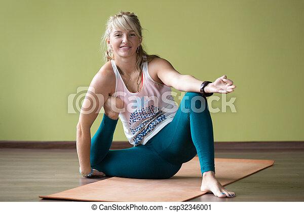 variation of yoga dandasana pose sporty happy smiling