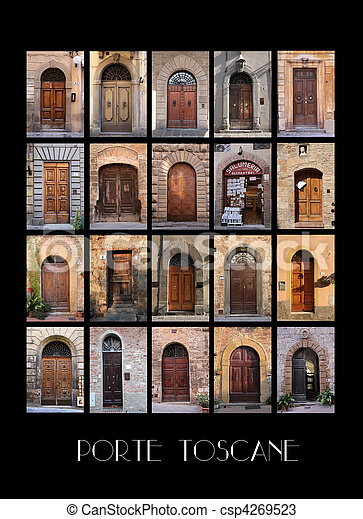 Variaty of old Tuscan Doors - csp4269523 & Variaty of old tuscan doors in italy with black background stock ...