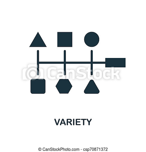 Variety icon. Monochrome style design from big data icon collection. UI. Pixel perfect simple pictogram variety icon. Web design, apps, software, print usage. - csp70871372