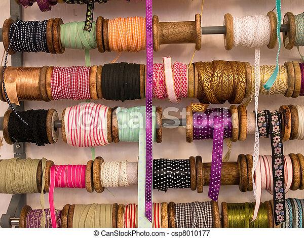 Variety of decorative colorful ribbons - csp8010177