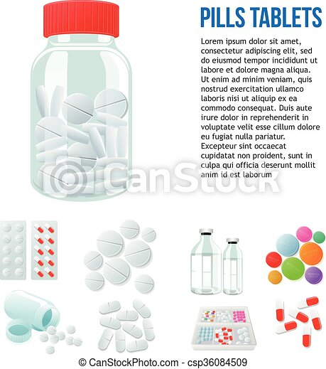 Variety Of Drugs And Pills Wide Range Jar With Pills Different
