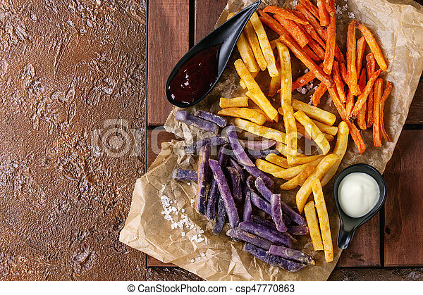 Variety of french fries - csp47770863