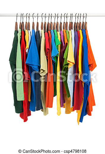 Variety of multicolored shirts on wooden hangers - csp4798108