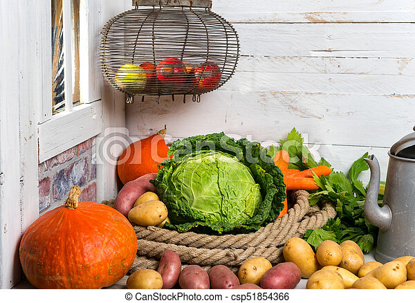 variety of raw vegetables on the wooden table - csp51854366