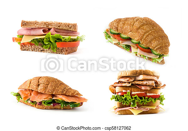 Variety of sandwich and croissant collage on white background - csp58127062