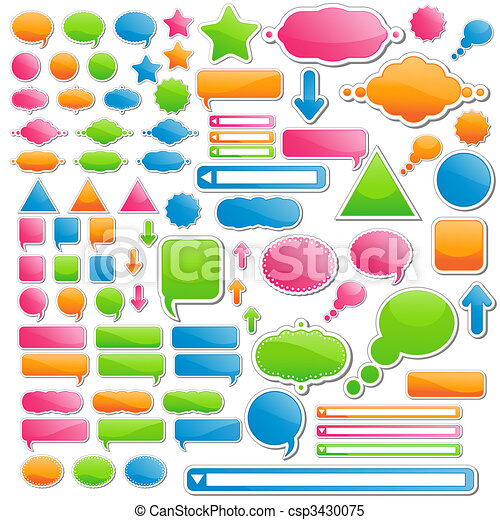 Variety of Stickers and Icons; All of Them Come in 4 Delicious Candy Colors - csp3430075