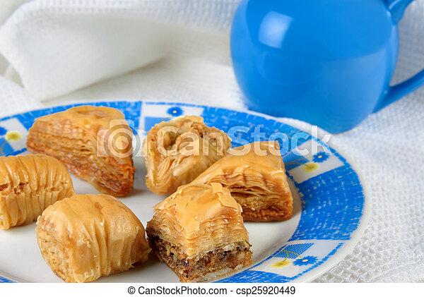 Variety of Turkish baklava on a plate - csp25920449