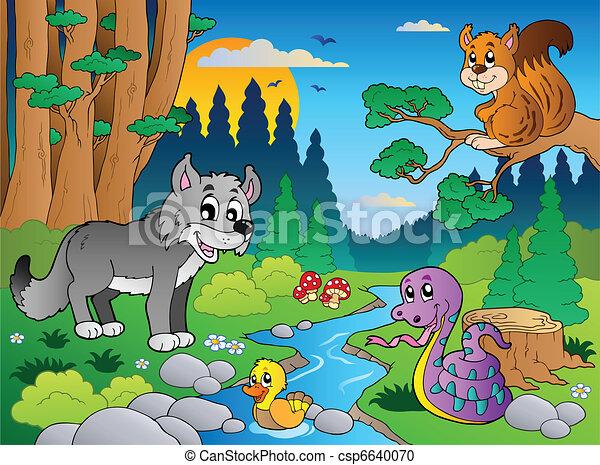 Escena del bosque con varios animales 5 - csp6640070