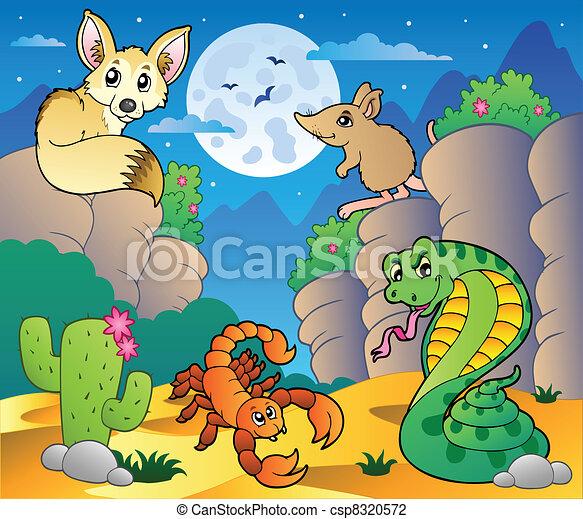 Ilustracin vectorial de vario 5 animales escena desierto