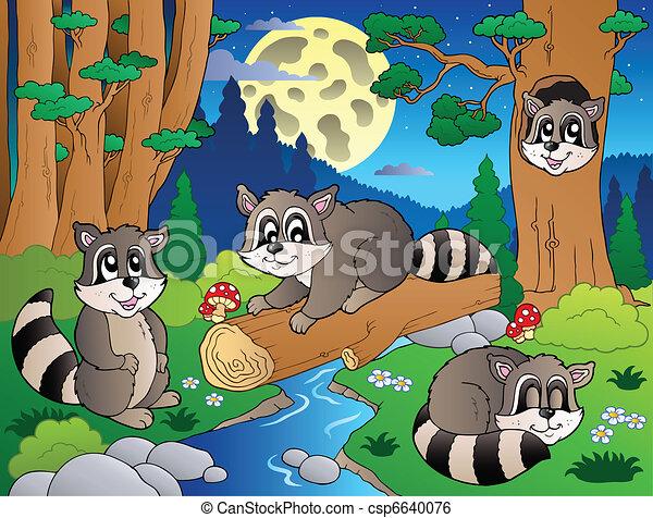 vario, 8, animali, scena, foresta - csp6640076