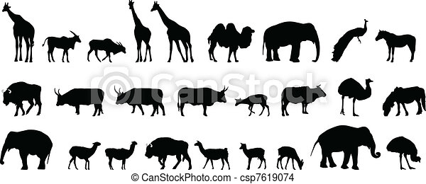 Varios animales siluetas - csp7619074