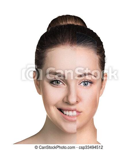 Cara de mujer humana hecha de varias partes diferentes - csp33494512