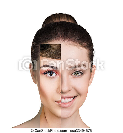 Cara de mujer humana hecha de varias partes diferentes - csp33494575