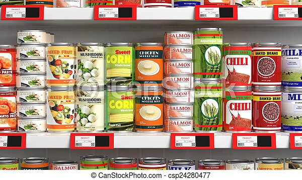 Various 3D can food products on supermarket shelve - csp24280477