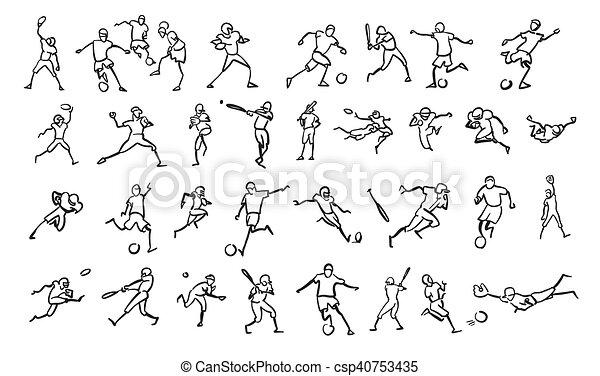 Various Ball Game Motion Sketch Studies Set - csp40753435