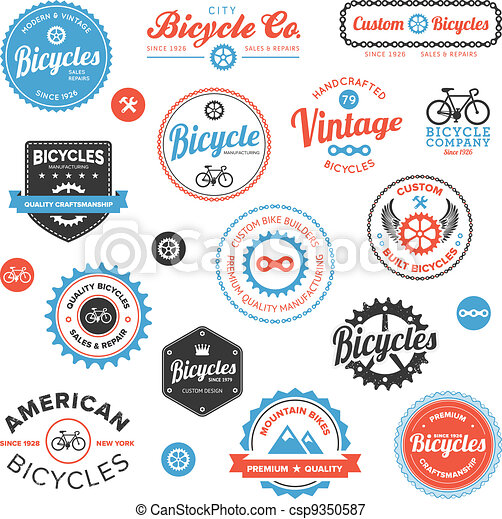 Various bicycle labels and emblems - csp9350587