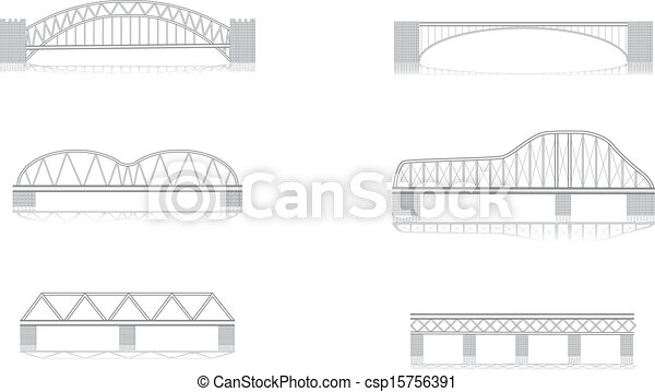 various bridge grayscale vector - csp15756391
