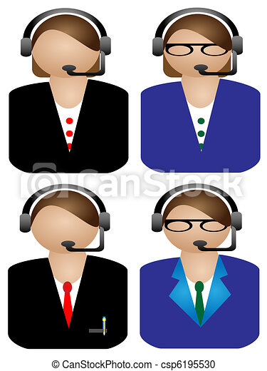 various Call operator on white back - csp6195530