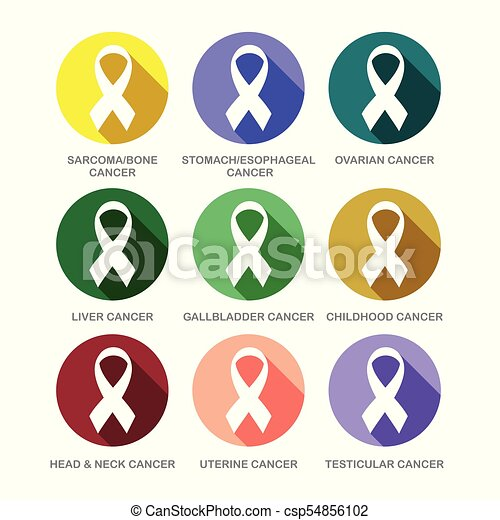 Various Cancer Awareness Ribbon Symbols Icon Set Vector Graphic Design