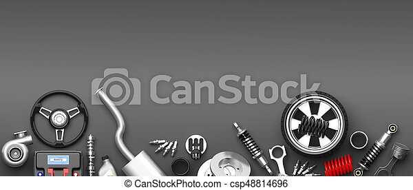 Various car parts and accessories on grey background. 3d illustration - csp48814696
