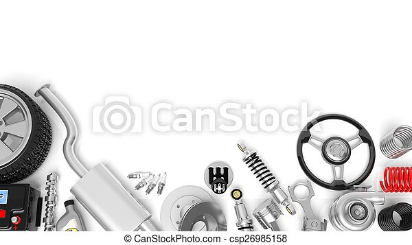 Various car parts and accessories, isolated on white background - csp26985158