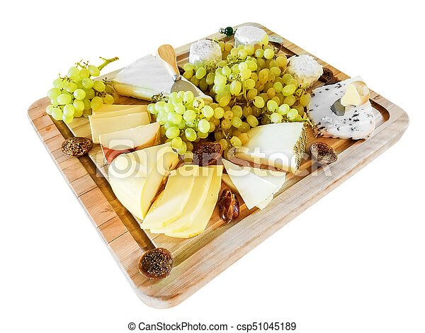 Various Cheeses, Grapes, and Figs, on a Cutting Board - csp51045189