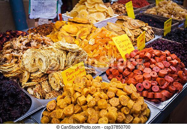 Various dried fruits on the Mahane Yehuda Market