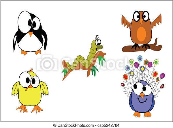 various feathered animals on white - csp5242784