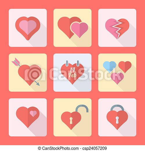 various flat style heart icons set - csp24057209