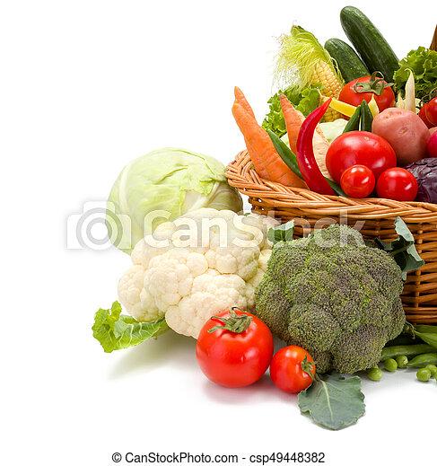 Various fresh vegetables in basket - csp49448382