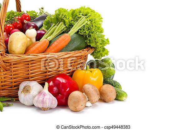Various fresh vegetables in basket - csp49448383