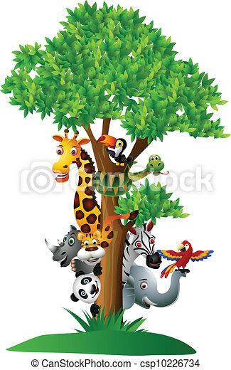 Vector Illustration Of Various Funny Cartoon Safari