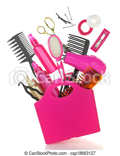 Various hairstyling equipment in shopping bag isolated on white - csp18663127