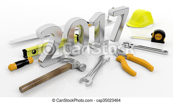 Various hand tools with 3D 2017 text, isolated on white background. - csp35023464
