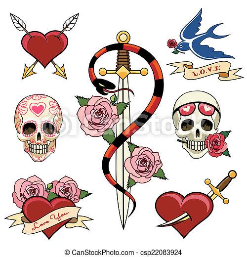 Various Heart Skull and Dagger Tattoo Graphics - csp22083924