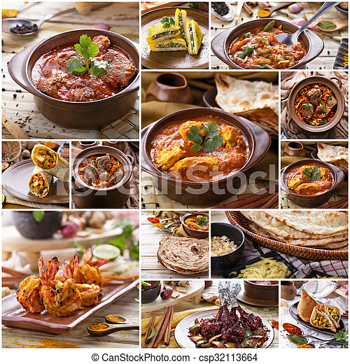 A portrait of various indian food buffet collage stock for Art of indian cuisine