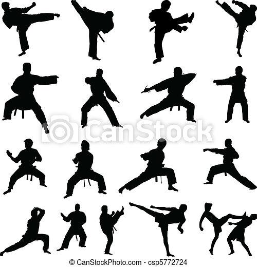 Various karate poses silhouettes - csp5772724