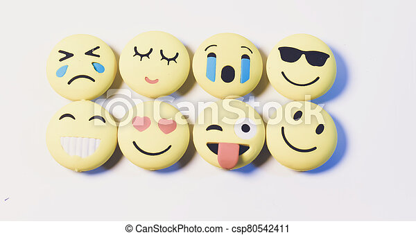 Various kinds of emoji on a white background. - csp80542411