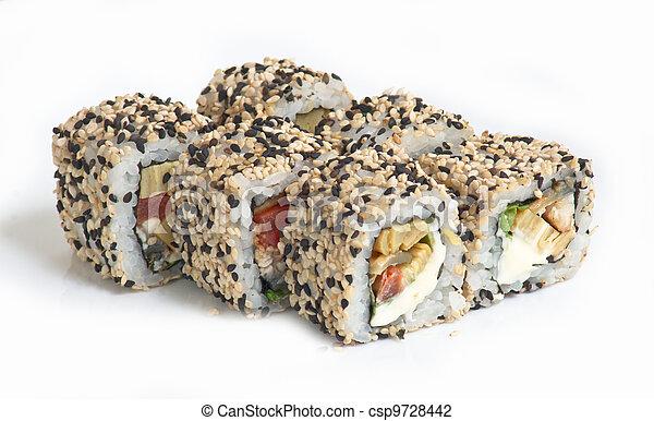 Various kinds of sushi and sashimi - csp9728442