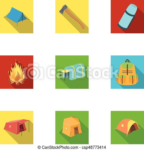 Various Kinds Of Tents And Other Tourist Accessories. The Tent Set Collection Icons In Flat Style  sc 1 st  Can Stock Photo & Various kinds of tents and other tourist accessories. the ...