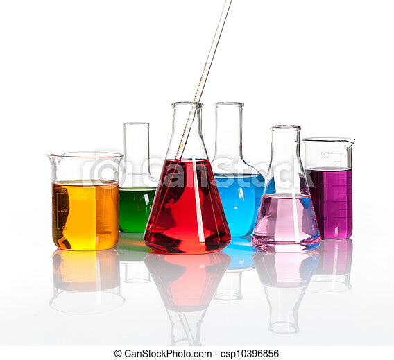 Various laboratory flasks with a colored liqiuds - csp10396856