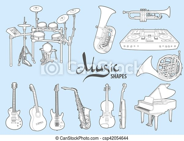 Various musical instruments on a blue background - csp42054644