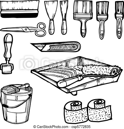 Various Painting Tools Clipart Vector Search