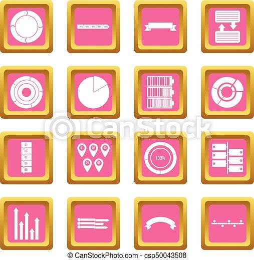 Various people icons pink - csp50043508