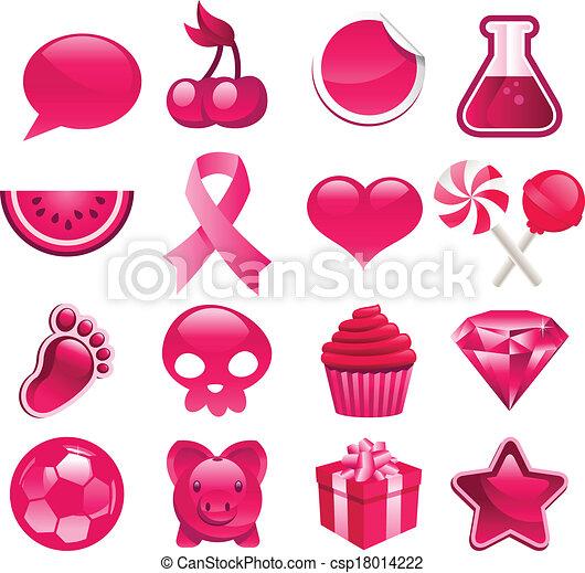 Various Pink Icons - csp18014222