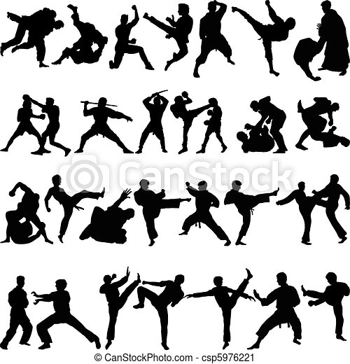 Various positions of martial arts - csp5976221